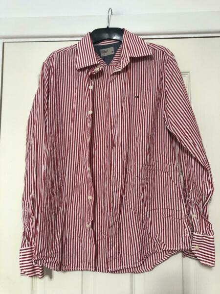 Tommy White Red Shirt Stripes Size Small Womens Long Sleeve K68 GBP 15.00