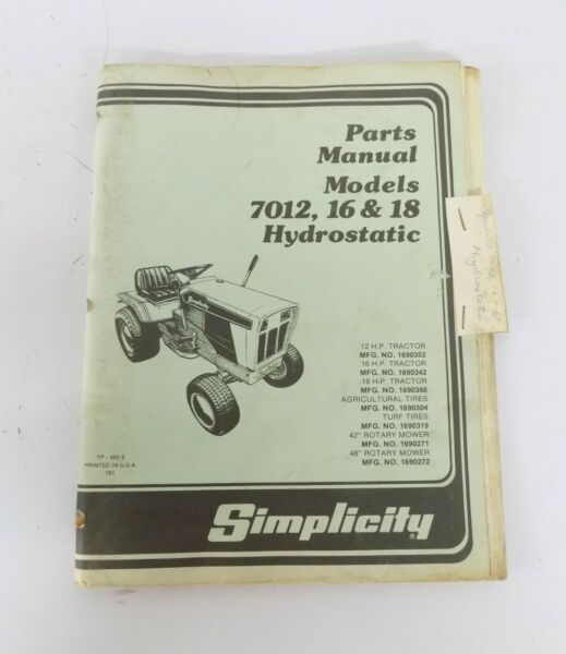 Simplicity Parts Manual Models 7012 7016 7018 Hydrostatic