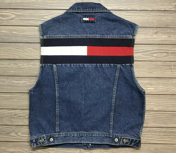 Vintage Tommy Hilfiger Denim Jean Vest Men#x27;s Size Large Sleeveless Blue 1990's $43.95