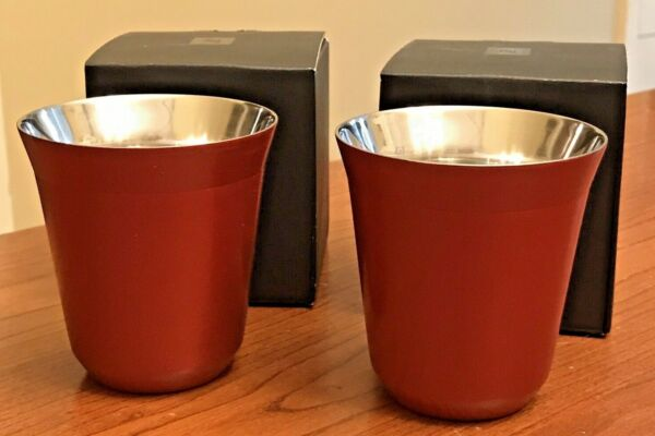 NEW 2 Nespresso Pixie Lungo Cups Cherry Red 160 ml Stainless Discontinued