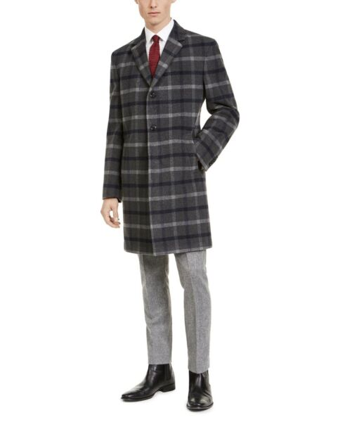 Tommy Hilfiger Mens Addison Wool Coat Size Plaid Stretch 42L $26.60