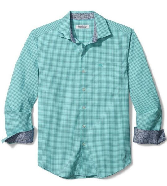 NWT Tommy Bahama NEWPORT COAST Green Gingham Plaid L S Shirt Size Large $44.99