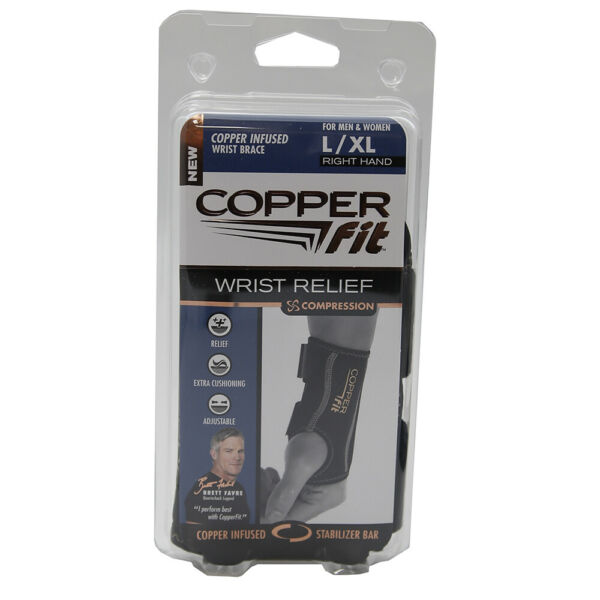 Copper Fit Compression Wrist Sleeve Orthotics Brace Right Hand L XL