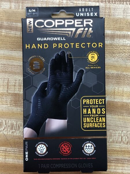 Copper Fit Guardwell Gloves Full Finger Hand Protection S M NEW Factory Seal