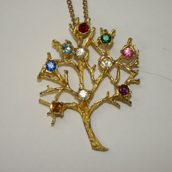 vintage rhinestone tree necklace