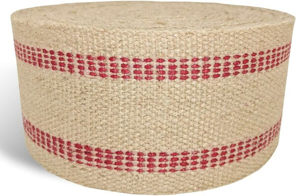 Jute Burlap Webbing Upholstery Craft Red or Black Stripe 12 24 36 Yards