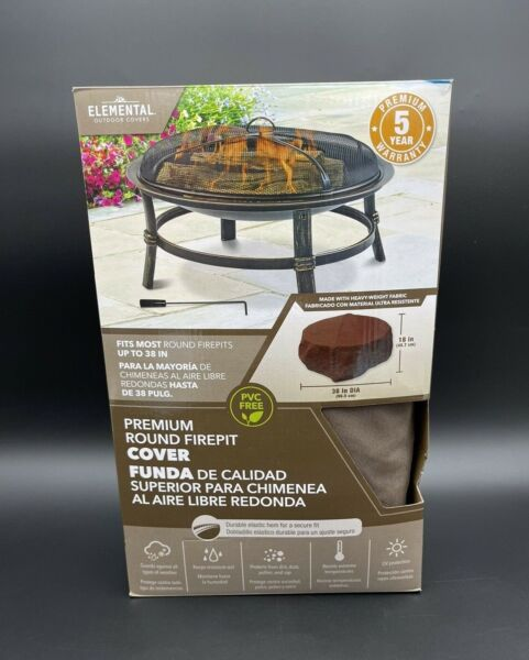 Elemental Outdoor Covers Premium Round Firepit Cover Brown Fits Up to 38 in New $24.99
