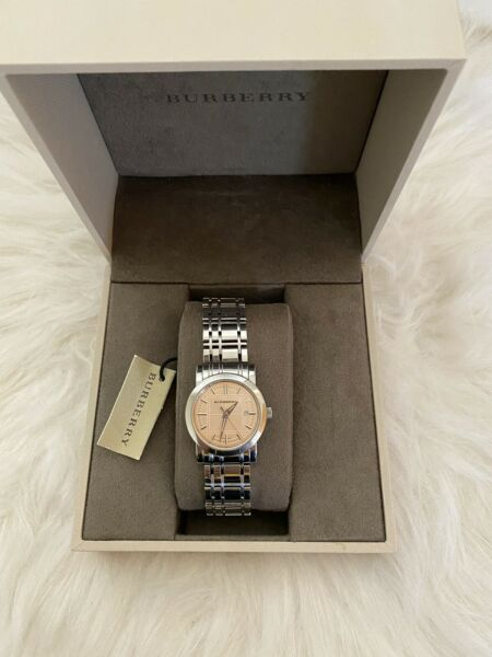 Burberry Watch Women Stainless Steel Band With Pink Face Dial Needs A Battery $130.00