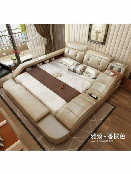 real genuine leather bed with massage double beds frame king queen size bedroom $2268.41
