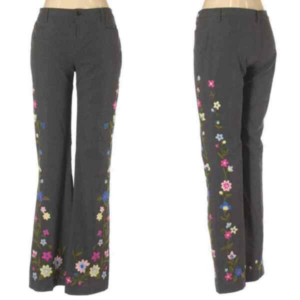 Moschino Dress Pants Embroidered Floral Trousers Women#x27;s Size 12 $159.00