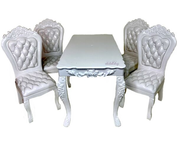 Eledoll 1:6 Dollhouse Furniture For 11.5quot; Fashion Doll Dining Table amp; 4 Chairs $29.00