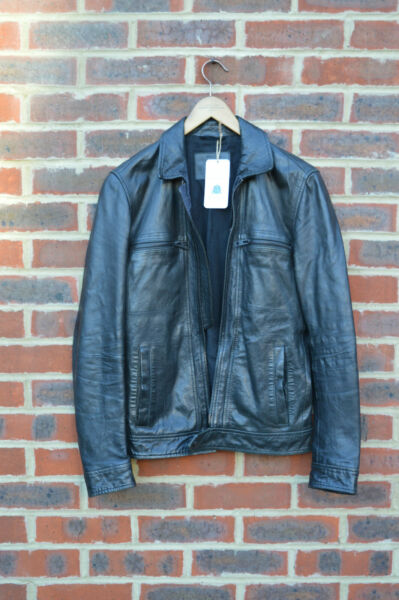 **AWESOME** AllSaints Mens TRACK Leather Biker Jacket XS Extra Small Bomber Moto GBP 169.99