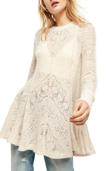 Free People Coffee In The Morning Tunic Pullover Ivory S