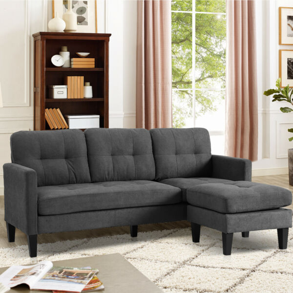 Convertible Sectional Sofa Couch Modern Linen Fabric L Shaped Couch 3 Seat Sofa $249.99
