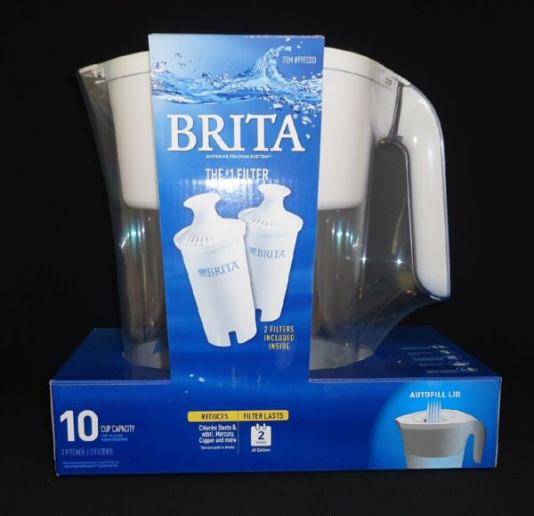 Brita Water Filtration Lake Pitcher 10 Cup Capacity White 1 Pitcher 2 Filters