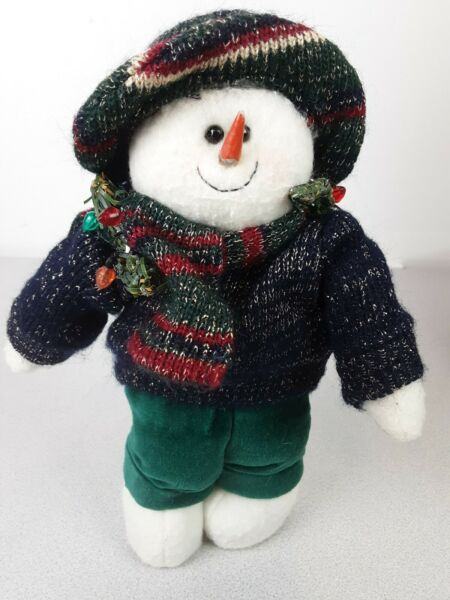 8quot; Crazy Mountain Snowman With Scarf And Hat Wooden Soles