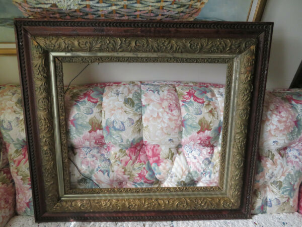 LARGE WOOD ORNATE ANTIQUE PICTURE FRAME FOR ART SIZE 18 1 4 x 22 1 4