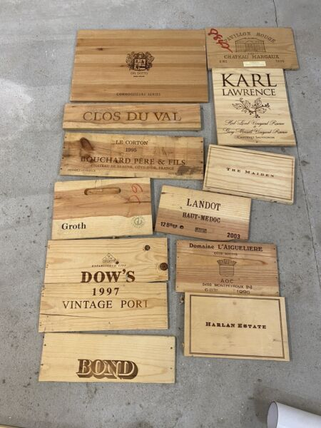12 Wooden Wine Box End Panels from Wine Crates for Decoration Rare Wines Lot 7
