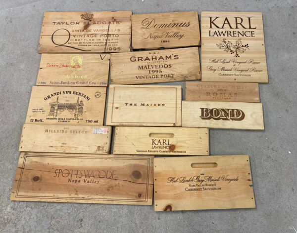 12 Wooden Wine Box End Panels from Wine Crates for Decoration Rare Wines Lot 8