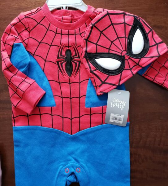 Disney Store Spiderman Baby Costume Romper Avengers Outfit with Cap Hat 9 12M