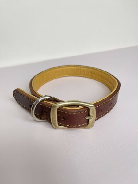 Weaver 21quot; Dark Brown Dog Leather Collar 100% Deer Skin Lined $18.80