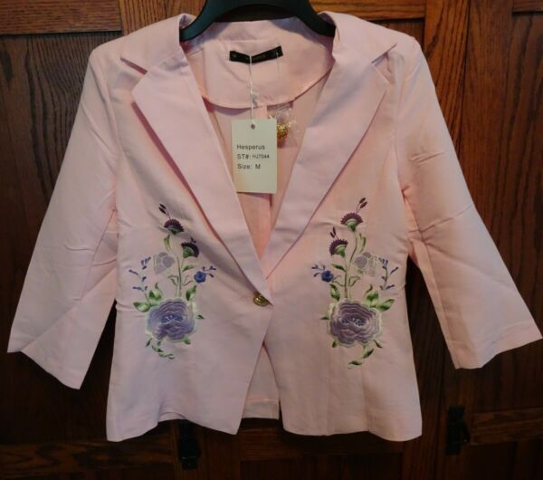 Women#x27;s Dressy Jacket Lightweight Size S Pink w Embroidered Flowers NEW NWT