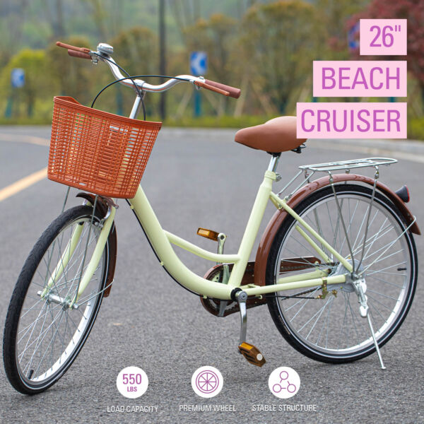 26 Inch Beach Cruiser Bike Bicycle for Women with Basket and Rear Rack $183.81