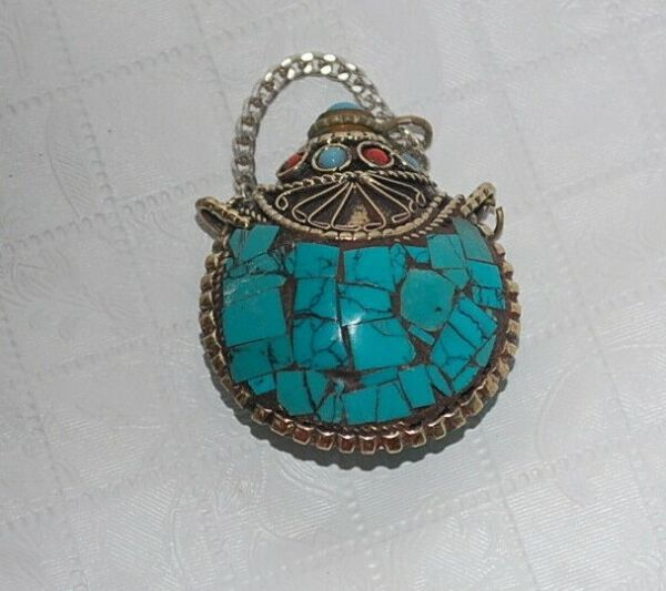 Rare Chinese Old Tibetan Turquoise Snuff Bottle with Spoon Pure Copper Silver $19.99