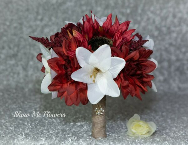 Red Ivory White Rustic Burlap Brooch Bride Wedding Bouquet Groom Lily Rose