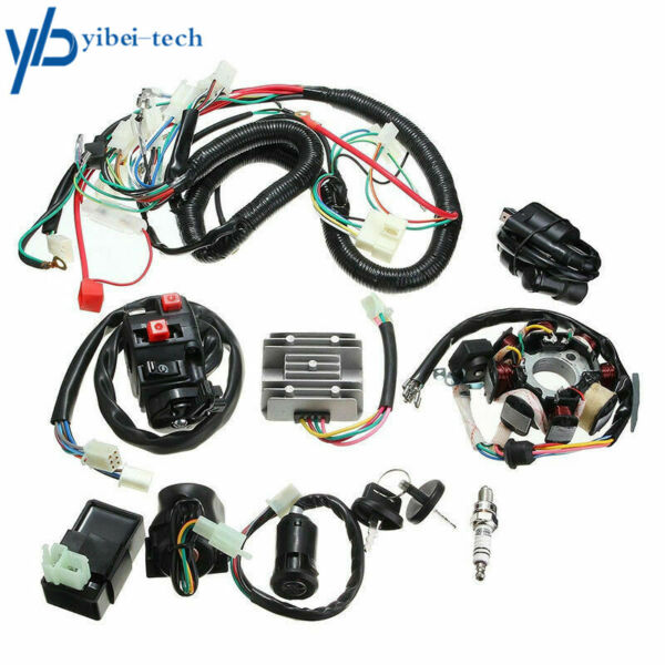 Electric Wiring Harness Wire Loom CDI Stator Kit for ATV QUAD 150CC 200CC 250CC $45.79