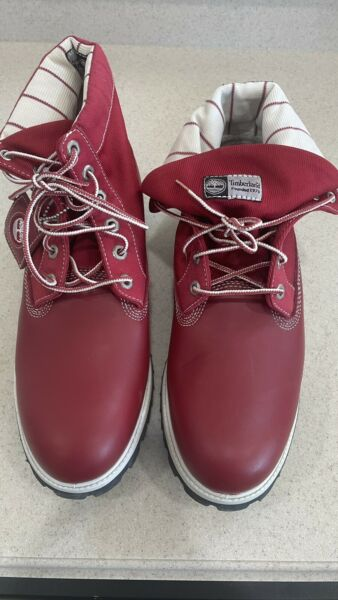 Rare RED Leather Timberland Boots NEW MENS Size 11 $88.00