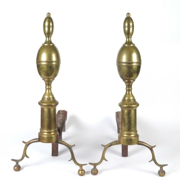 Antique Fireplace Andirons Brass Federal Chippendale Fire Dogs