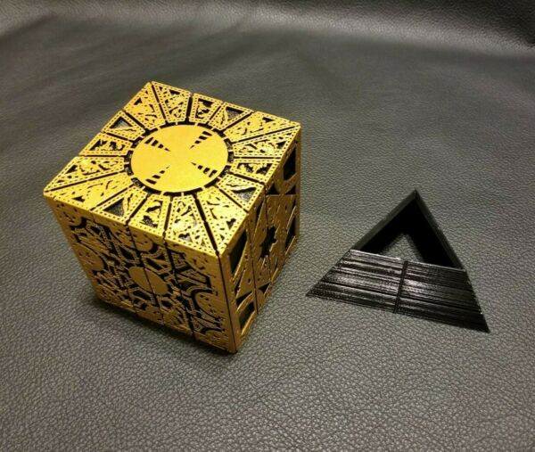 Hellraiser Inspired Puzzle Box Lament Configuration Gold with Black Stand