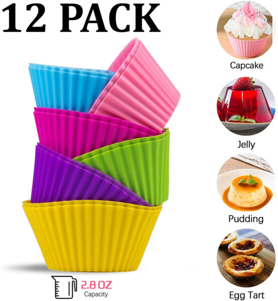 Silicone Baking Cups Cupcake Liners Muffin Cups Cake Molds Large Reusable 12 PCS