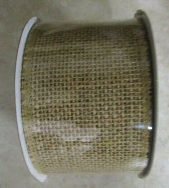 NATURAL BURLAP RIBBON..2.5 quot; WIRED..15 FT. LONG