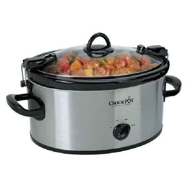 Crock Pot Cook N Carry Manual Portable Slow Cooker 6 Quart Stainless Steel