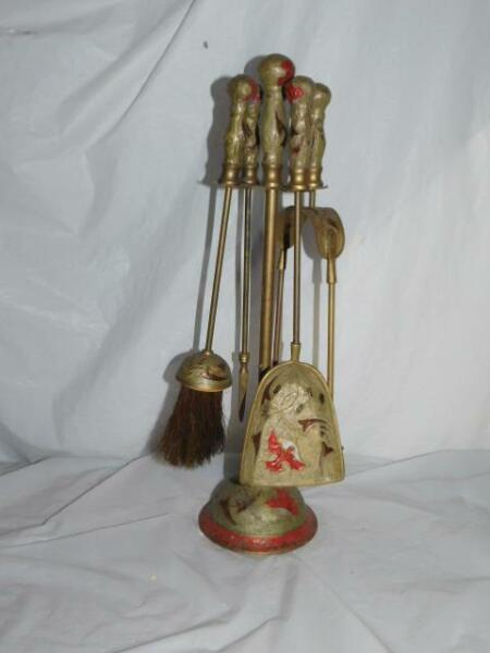 old vintage fireplace antique tool set brass fire place home hearth collectible