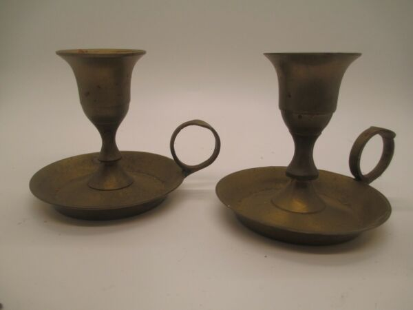 Vintage Small Brass candleholders Candle Sticks lot of 2 with handles