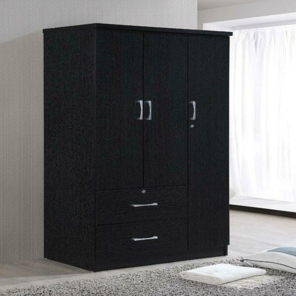 3 Door Bedroom Armoire With Drawers Wardrobe Clothes Organizer Black Finish New