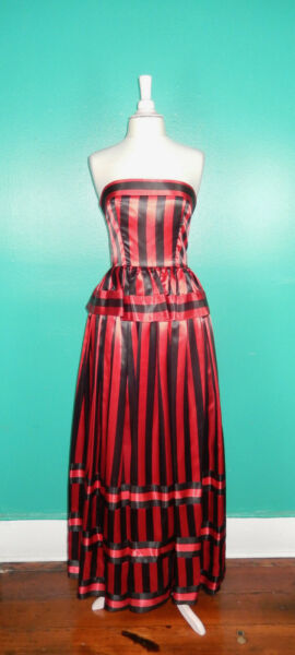 Vintage 80#x27;S Red Black Striped Victor Costa Strapless Long Peplum Dress XS S