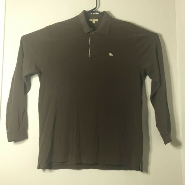 Burberry Men#x27;s Sz. Large Brown Long Sleeve Polo Shirt Collared New With Tags NWT $59.99