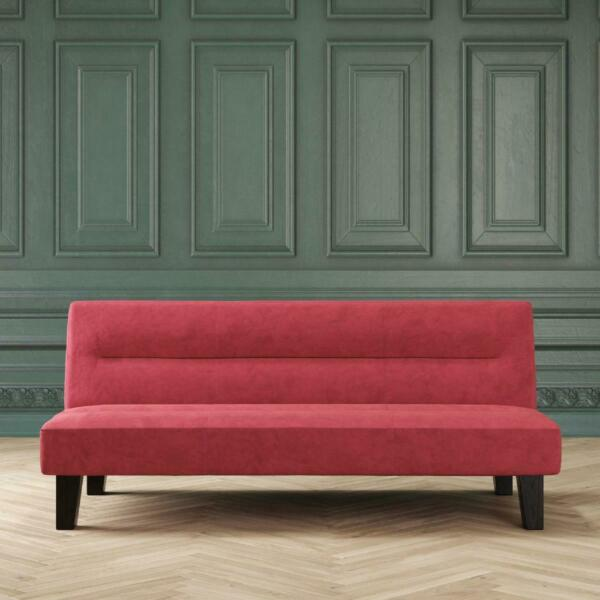 SLEEPER SOFA BED FUTON Convertible Couch Lounger Modern Living Room Loveseat Red