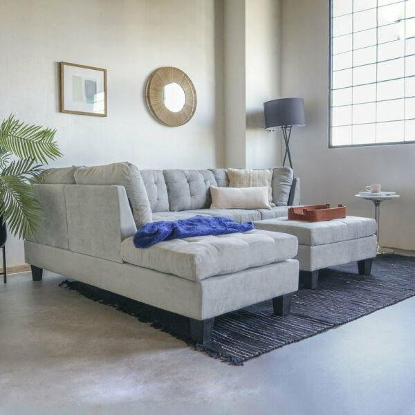 Contemporary Sofa Reversible L Shape Sectional Set Ottoman Light Grey Sofa Set $729.99