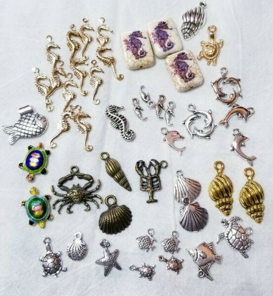 #9 Pkg Of 50 Pendant Charms Jewelry Making Mix: Seahorses Shells Turtles Fish $15.25