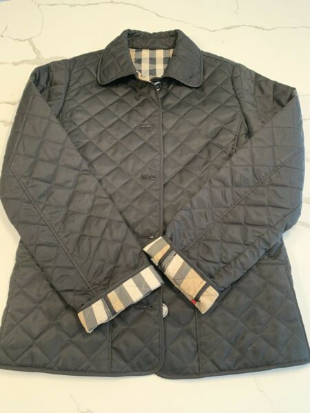BURBERRY Black Quilted Nova Check Coat Jacket GIRLS Kids Size 12 Youth 152cm $119.00