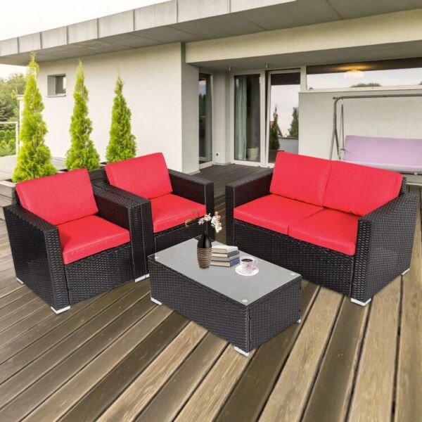 4 PCS Patio Furniture Couch Wicker Rattan w Cushions Sectional Sofa Table Set