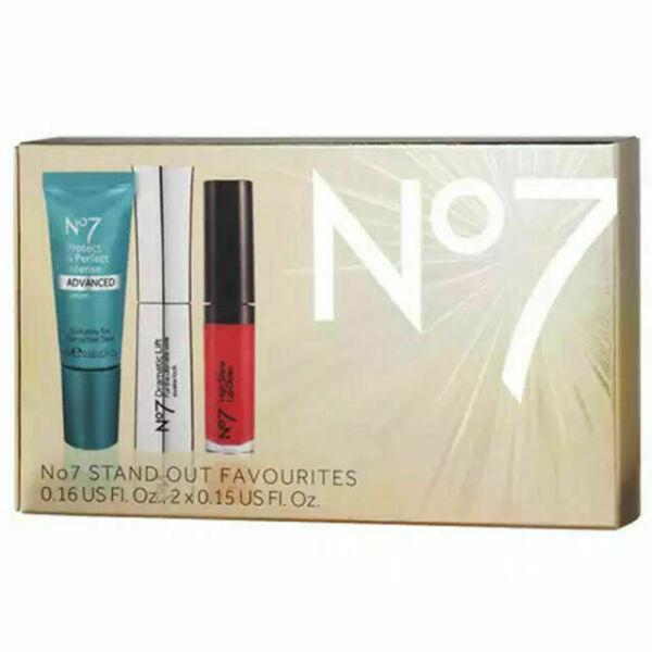 Boots No 7 Stand Out Favorites Boxed Set Serum Mascara Gloss NEW BOXED