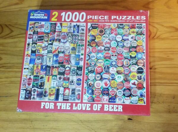White Mountain For The Love Of Beer 2 1000 Piece Jigsaw Puzzles Cans Caps New $29.95