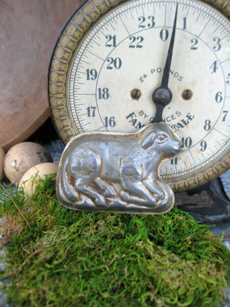 Small Antique One Piece Chocolate Mold Spring Lamb