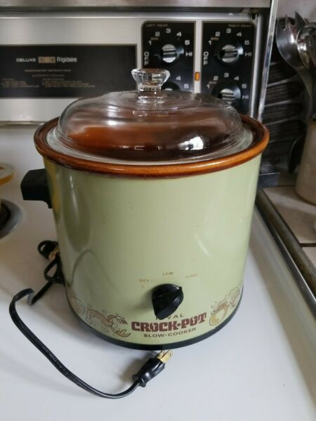 Vintage Rival Crock Pot Avocado Green Model 3100 2 3.5 qt Nice